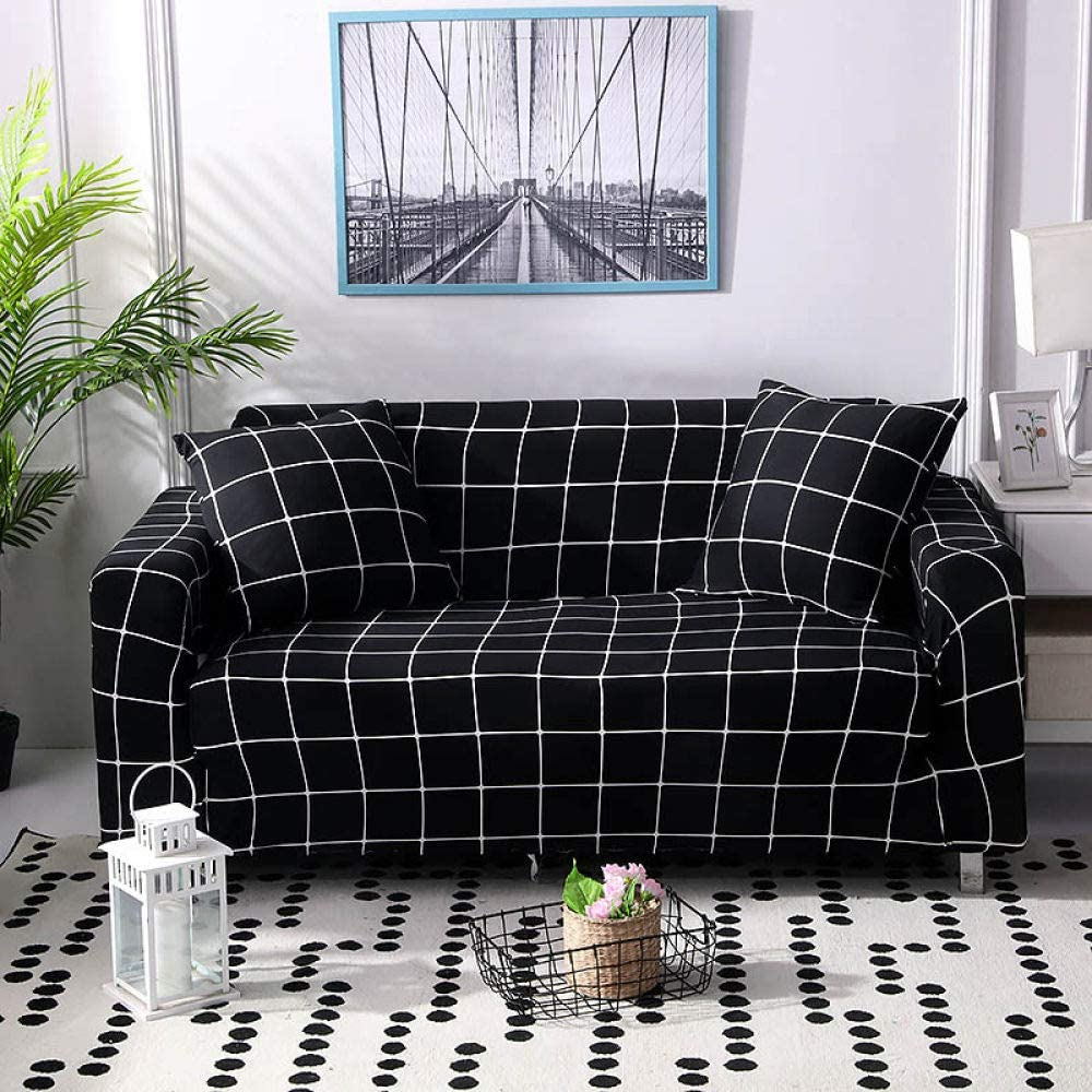Printed Sofa Cover Stretch,Black Geometric Squares Modern Elastic Full Sofa Cover Slipcovers Sofa All-Inclusive Sectional L-Shape Couch Cover For Living Room Chair/Loveseat/Sofa/Big Sofa,1,Seat 90,14