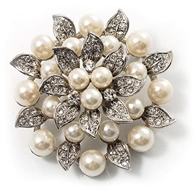 amazon com bridal synthetic pearl floral brooch light cream