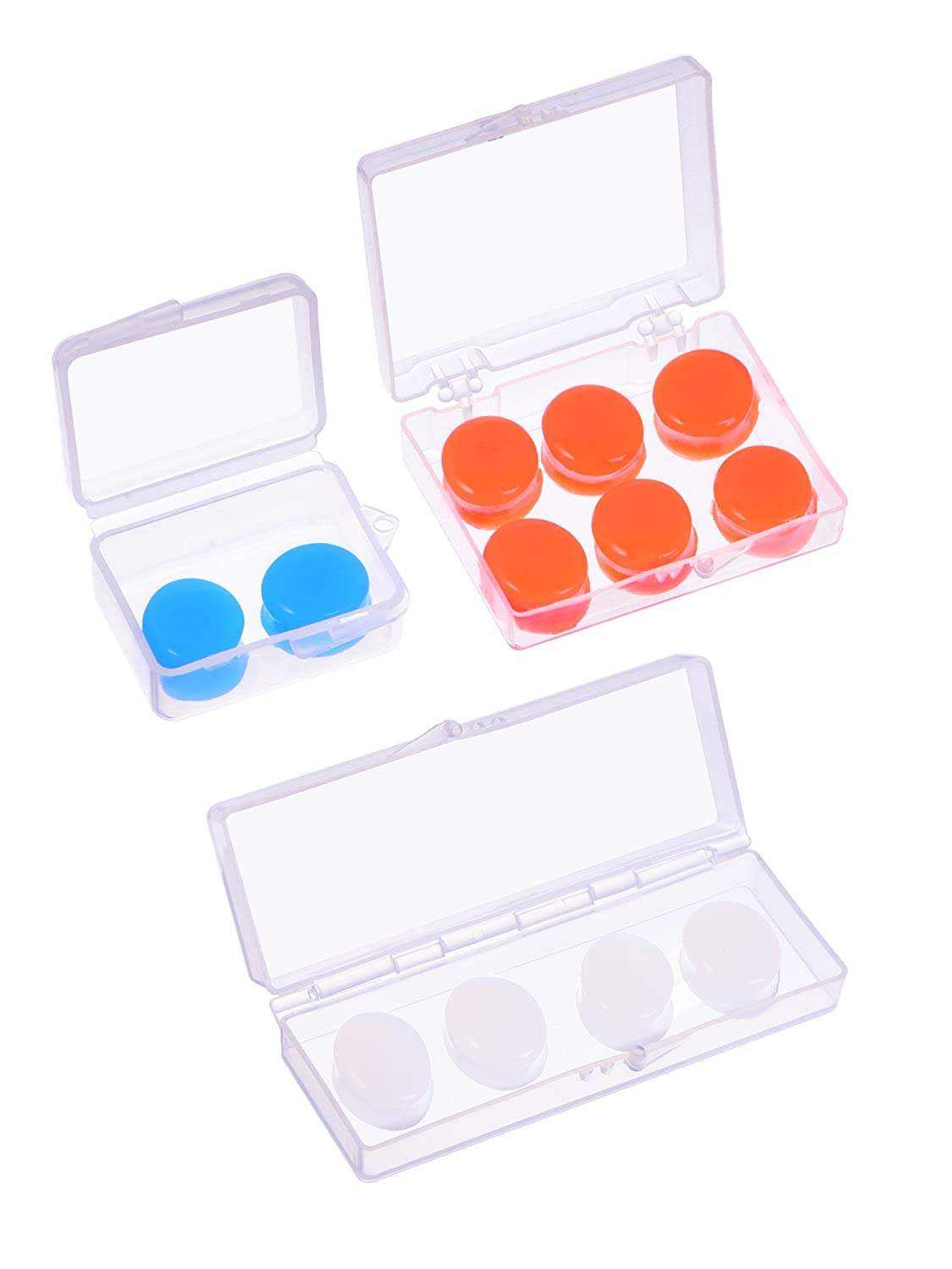 Silicone Putty Ear Plugs Soft Protective Ear Plugs Earplugs Bulk for Sleeping Swimming, Blue and White Orange 12 Pairs in 5 Sets