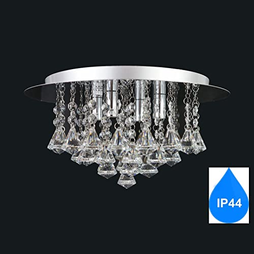 Bathroom chandelier 9 lights ip44 amazon lighting aurolite nova modern bathroom ip44 crystal semi flush ceiling light polished chrome 4 light energy aloadofball Gallery