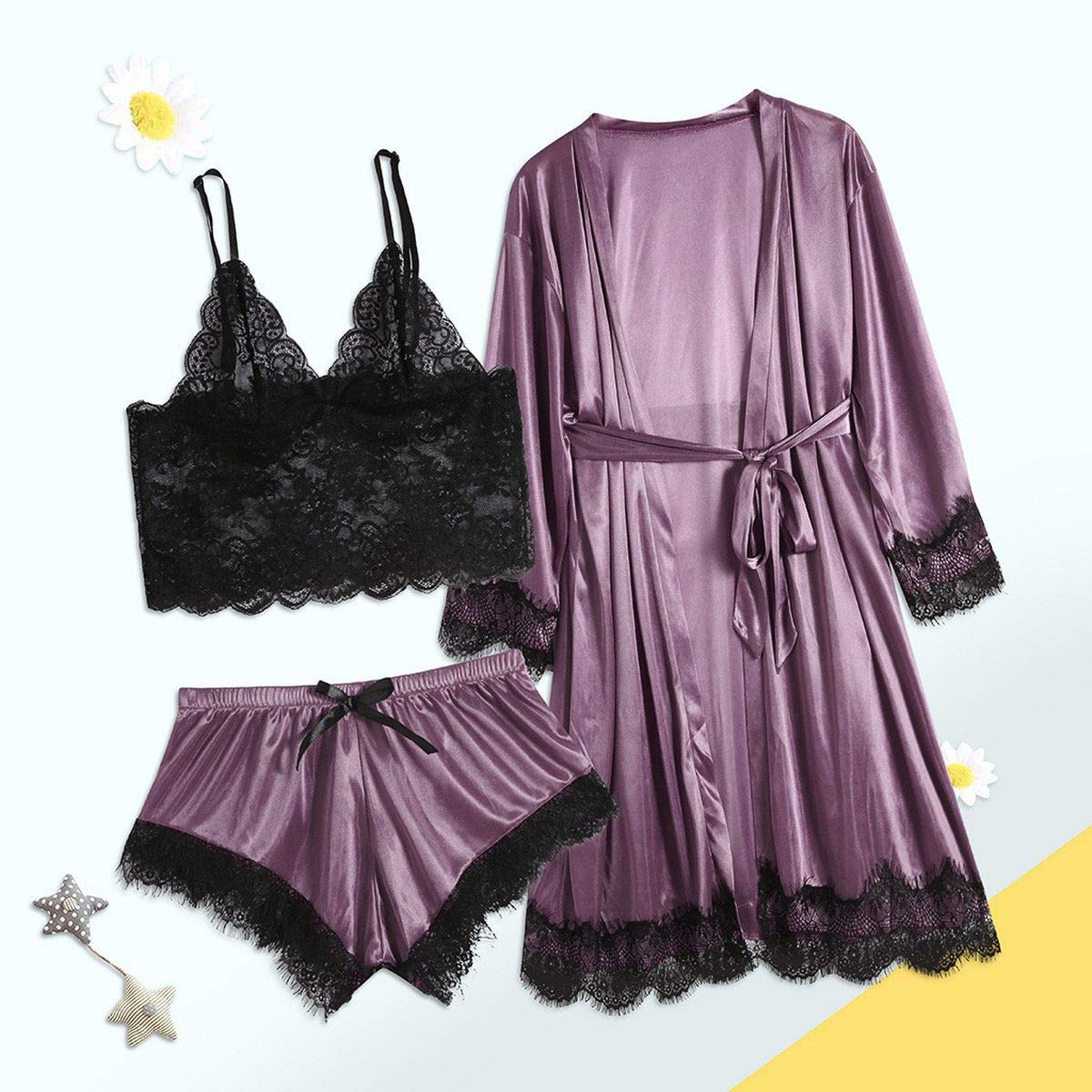 Lace Bra Short Underwear Satin Full Sleeve Robe Nightgown Set Sleepwear Nightwear Pyjamas Belt Womens Pajama Set