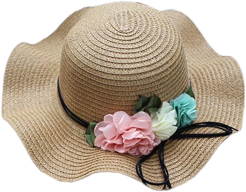 4URNEED Kid Girls Flower Decor Summer Wide Brim Beach Sun Hat Panama Straw Bow Fedora Hat