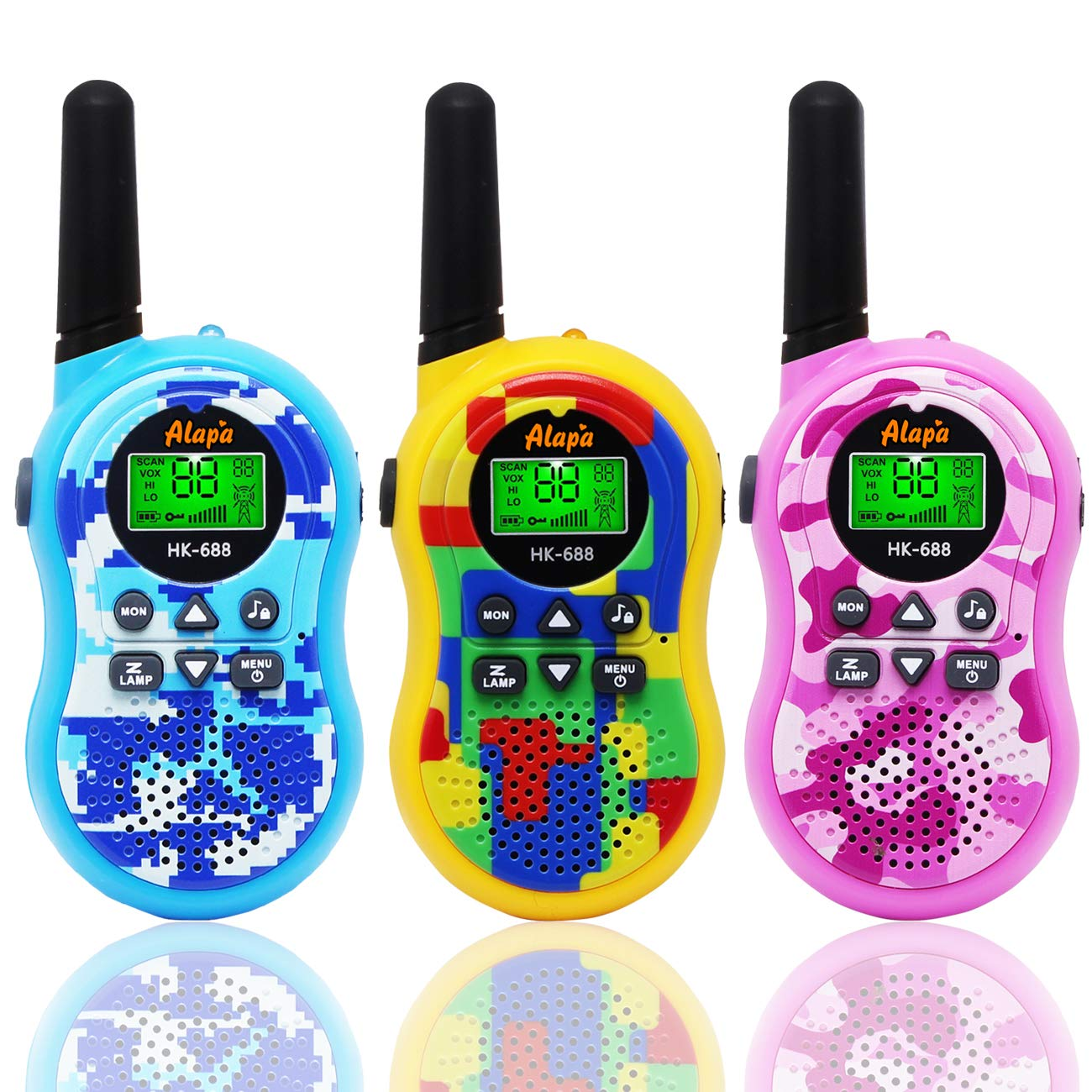 Alapa Walkie Talkies for Kids Voice Activated Walkie Talkies for Adults and Kids 3 Mile Range 2 Way Radio Walkie Talkies Built in Flash Light Camo Exterior Vox (3 Pack) by Alapa (Image #1)