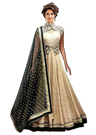 f48d4ce228 Nikrish Creations Women's Banglori Silk Semi-Stitched Gown Dress Material  (Cream, Free Size): Amazon.in: Clothing & Accessories
