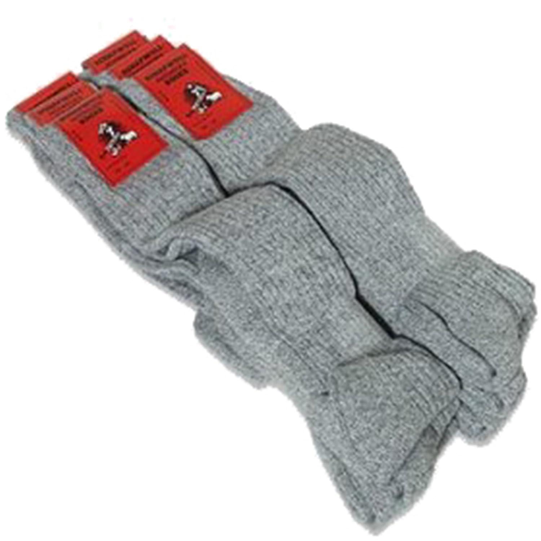 6 Paar super flauschige lange Norweger Socken Kniestrümpfe grau Frotteesohle