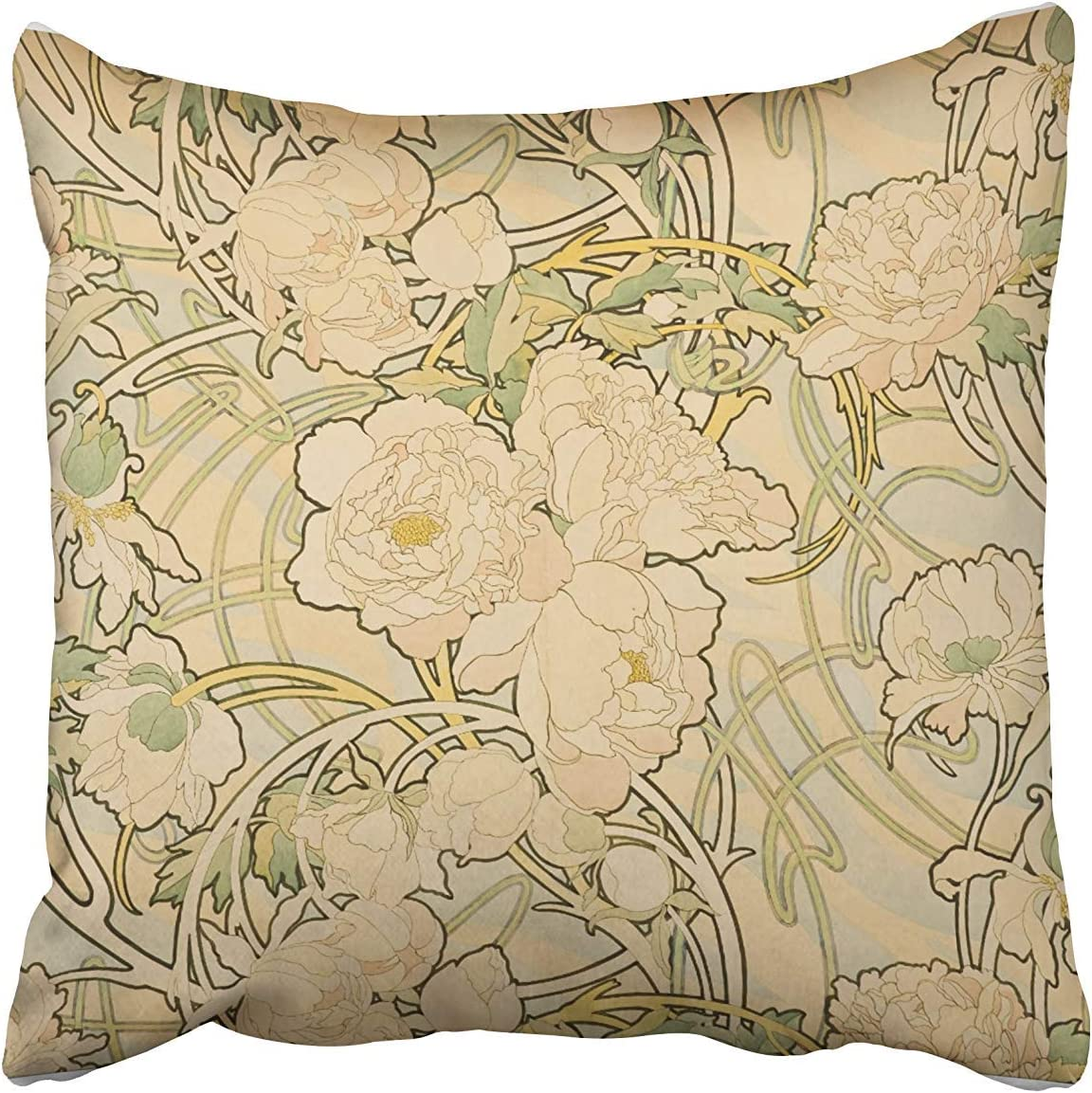 SPXUBZ Vintage Art Nouveau Peonies by Alphonse Mucha Cotton Throw Pillow Cover Home Decor Nice Gift Indoor Pillowcase Standar Size (Two Sides)