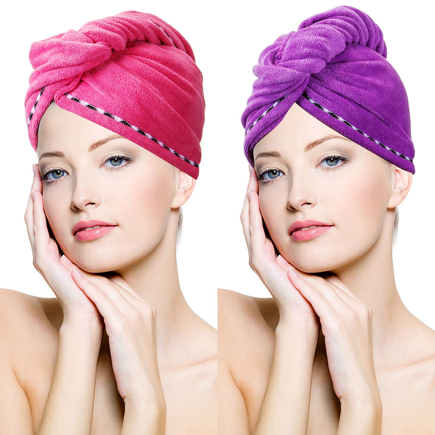 Microfiber Hair Towel Quick Magic Hair Dry Hat, Turban Twist Hair Towel Wrap Head Towel with Button, Quick Dry Super Absorbent for Long & Curly Hair, Anti-Frizz [2 Pack] by YAPASPT