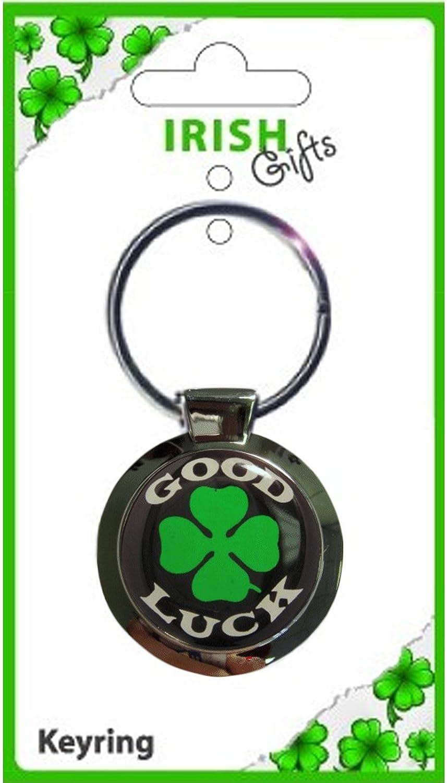 最新情報 Irish Good Luck Clover Green B00831UOJU Green on Black Keyring Round Metal Keyring B00831UOJU, Truffle Hunter:a6a398fe --- yelica.com