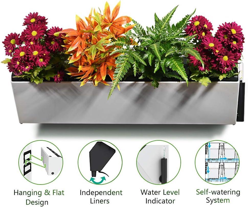 Maceta con sistema de autorriego para jardín vertical, de Green Sun, de cerámica, colgante, 1 maceta con diseño de 4 macetas: Amazon.es: Jardín