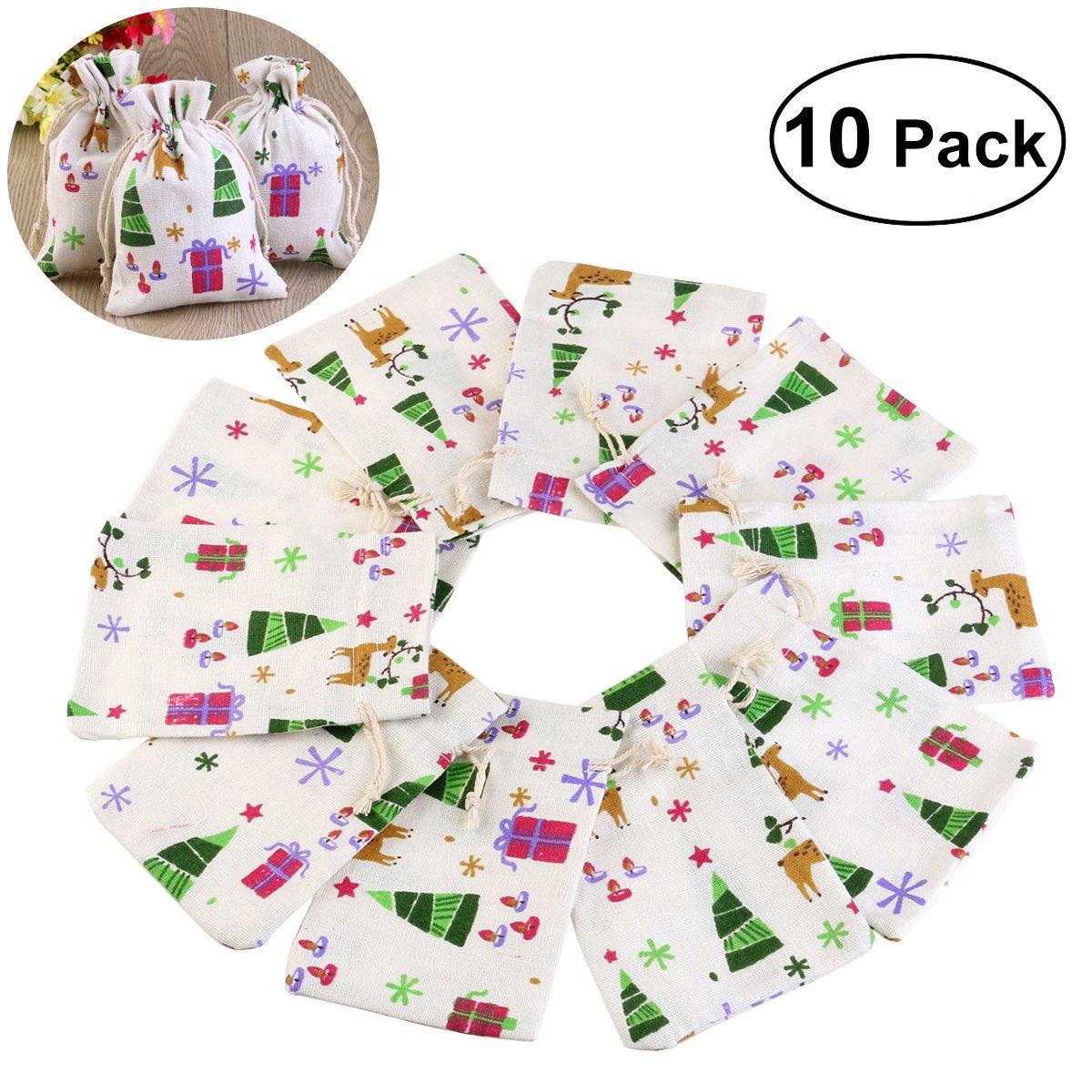 UEETEK 10pcs Natural Linen Jute Burlap Small Simple Sack Pouch Drawstring Bag Xmas Pattern Jewery Bag Wedding Favor