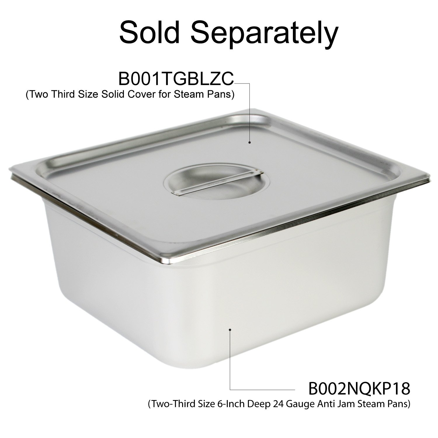 Excellante Two-Third Size 6-Inch Deep 24 Gauge Anti Jam Steam Pans by Excellant (Image #2)