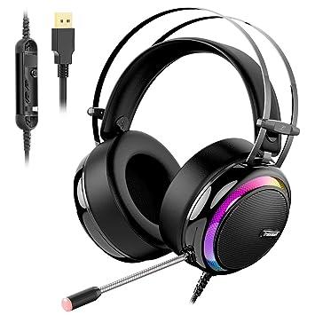 Tronsmart Auriculares Gaming para PS4 con Micrófono Diadema LED-glary-Cascos Gaming Sonido Envolvente 7.1-Aislante de Ruidos-Audio de Alta Definición ...