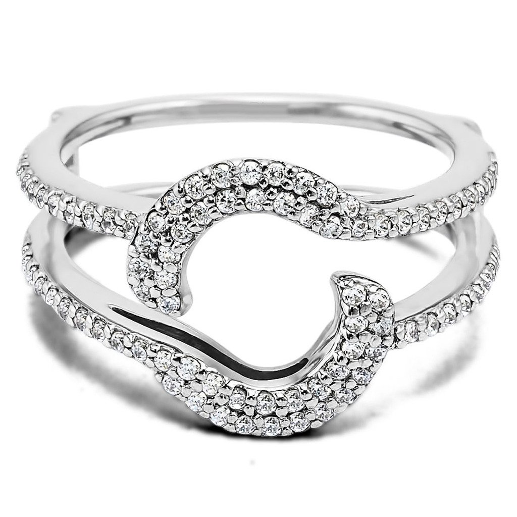 14K White Gold Plated Sterling Silver Base Cubic Zirconia Total Halo Wrap Guard Enhancer (0.44 Carat) Forever Collection DP-259