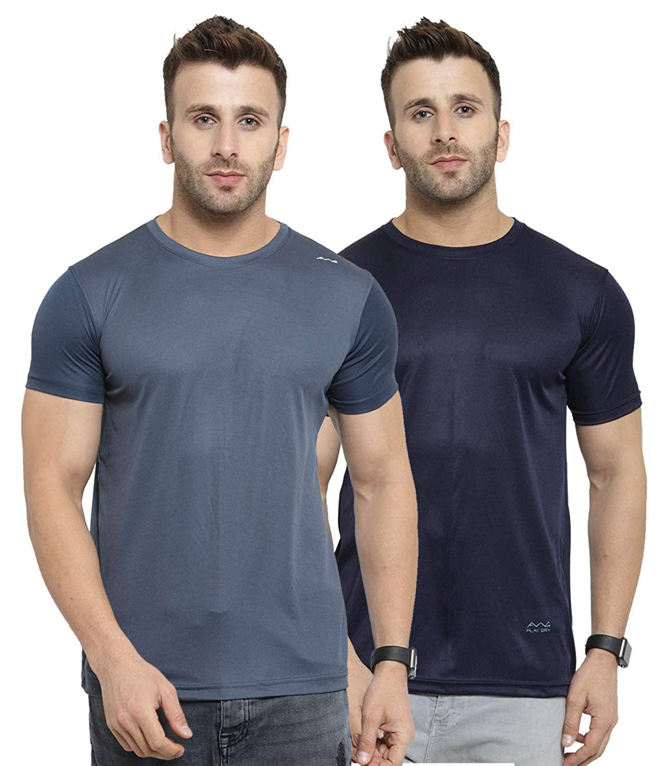 AWG - All Weather Gear Men's Solid Regular fit T-Shirt (Pack of 2) (SS19-AWGDFT-BL-DGR- Multi XL)