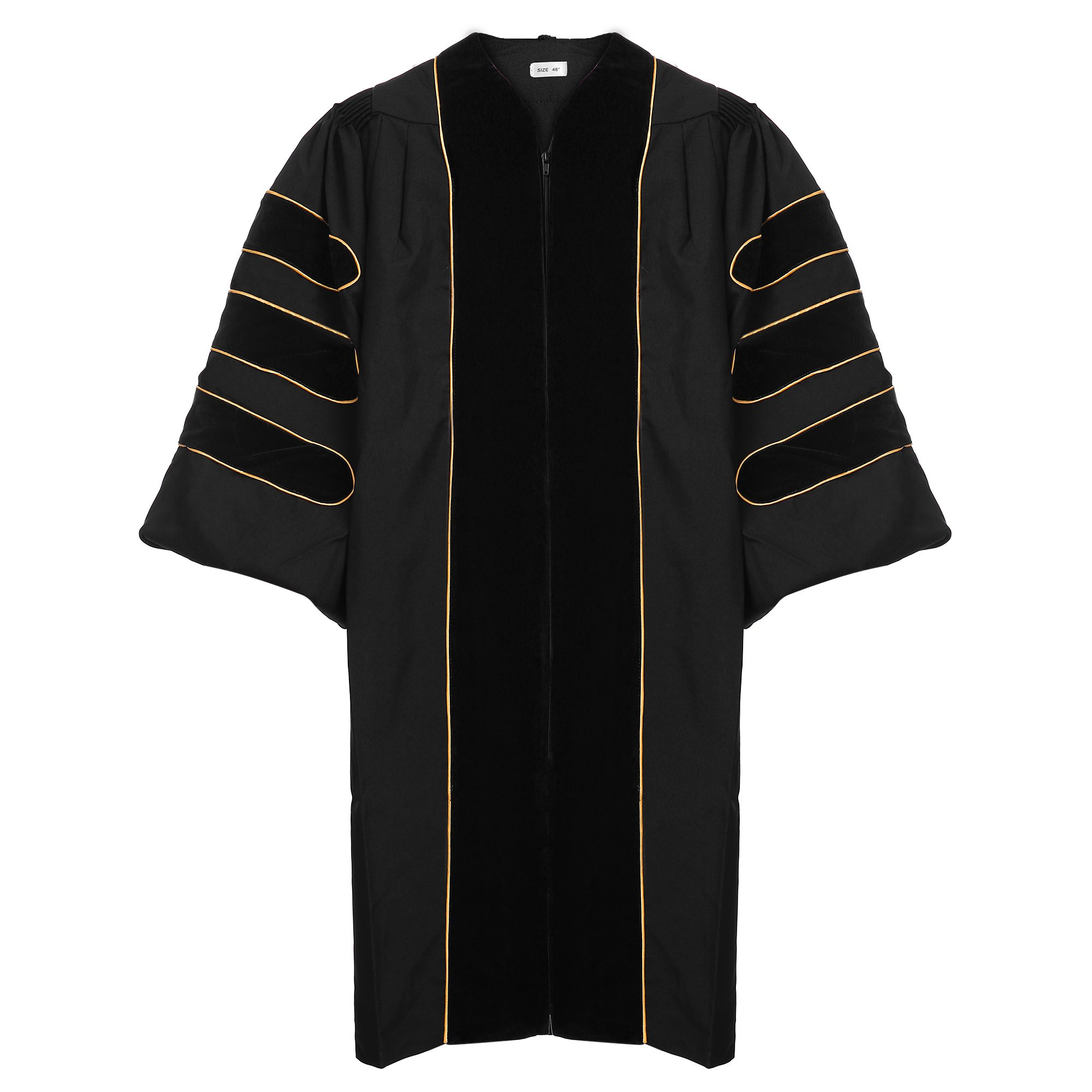 Newrara Unisexd Deluxe Doctoral Graduation Gown-black Trim Gold Piping
