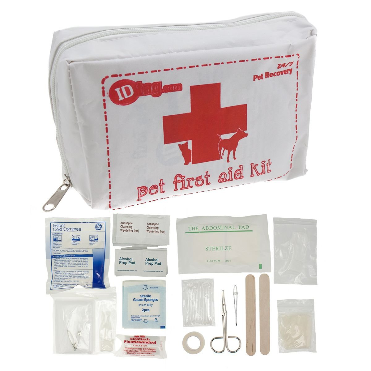 46pc Pet First Aid Kit Cats Dogs Birds w/ Guide Travel Portable Bag Case Safety by ID Tag