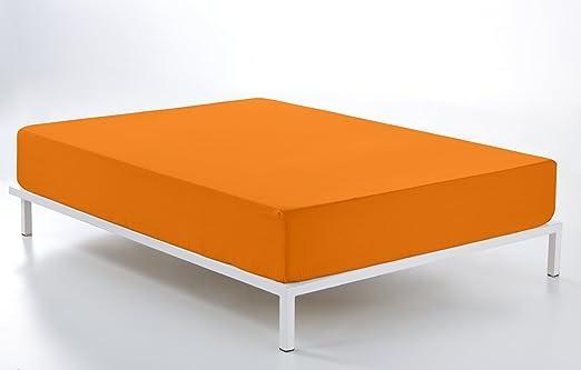 ESTELA - Sábana Bajera Ajustable Combi Color Naranja - Cama de 135 ...