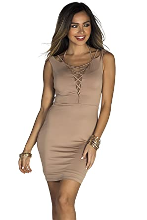 cd7bb22a725b Babe Society Women's Mocha Lace Up Mesh Neckline Bodycon Dress at ...
