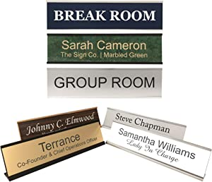 Personalized Office Name Plate Sign with Aluminum Wall or Desk Holder - 2x8 - Customize