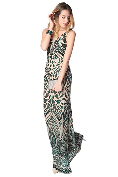 Q2 Mujer Vestido largo estampado de lentejuelas verdes y espalda abierta - XS - Verde