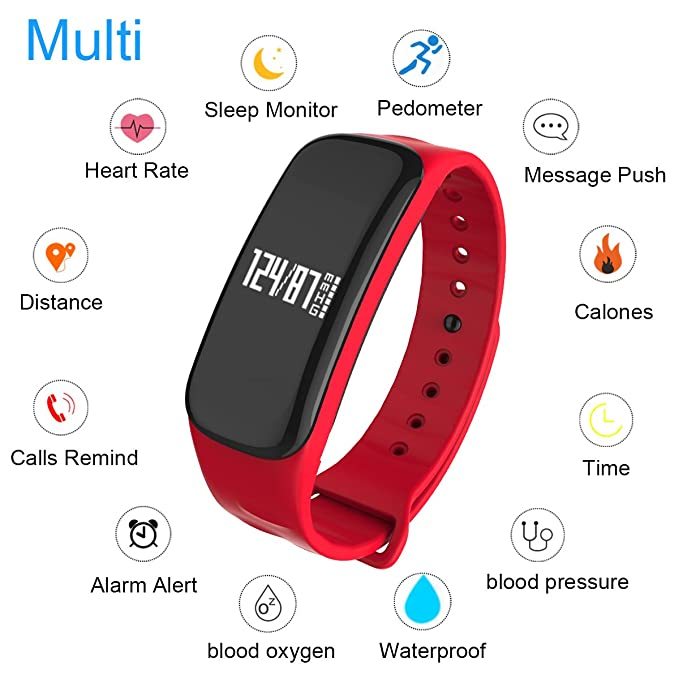 Amazon.com : WearPai Fitness Tracker Watch Bluetooth Smart Band Sleep Monitor Wristband Pedometer Call Remind Wearable Smart Bracelet OLED Touch for Android ...