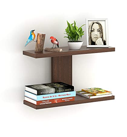 Bois Art Stellar Plus Decor Wall Shelf/Display Rack (Brown, 2 Shelves)