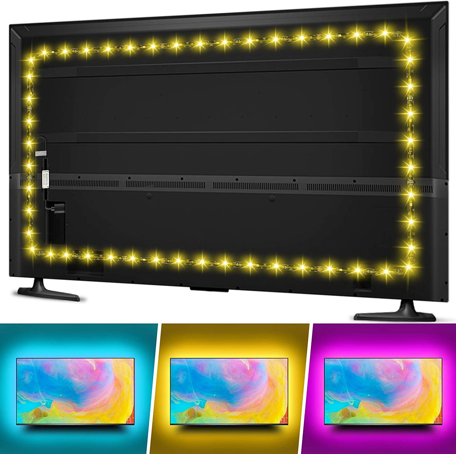 TV LED Backlight for 70 75 80 82inches TV, Hiromeco 18Ft USB TV Bias Lighting with RF Remote- Cover 4/4 Sides TV Background Lights Christmas Ambient Mood Lighting