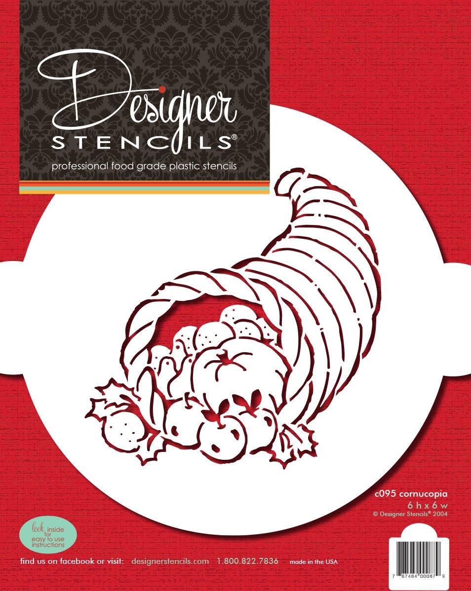 Designer Stencils C095 Cornucopia Cake Stencil, Beige/semi-transparent