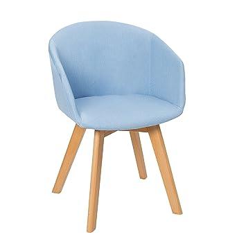 Design Stuhl STOCKHOLM mit Armlehne Strukturstoff blau Buche Gestell ...