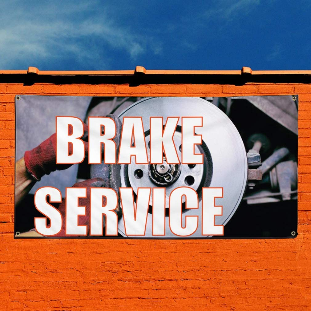 Vinyl Banner Sign Brake Service #1 Style D Automotive Outdoor Marketing Advertising Grey 28inx70in 4 Grommets Set of 2 Multiple Sizes Available