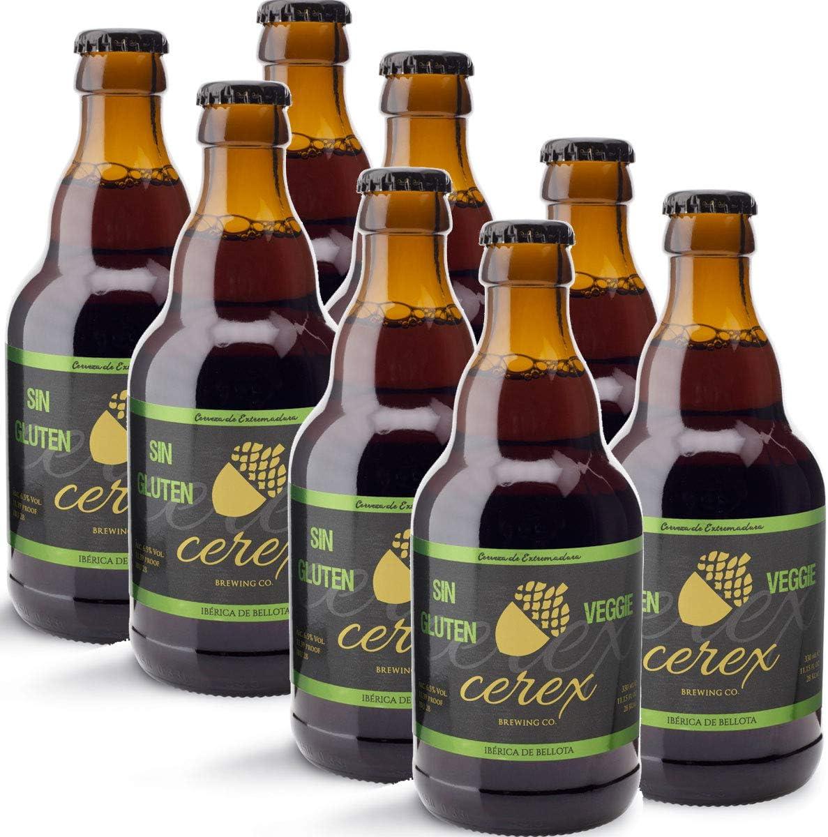 CEREX – Pack Cervezas Artesanas Sin Gluten Sabor Ibérica de Bellota - Cervezas de 33cl. - Mejor Cerveza Artesanal de España Premios