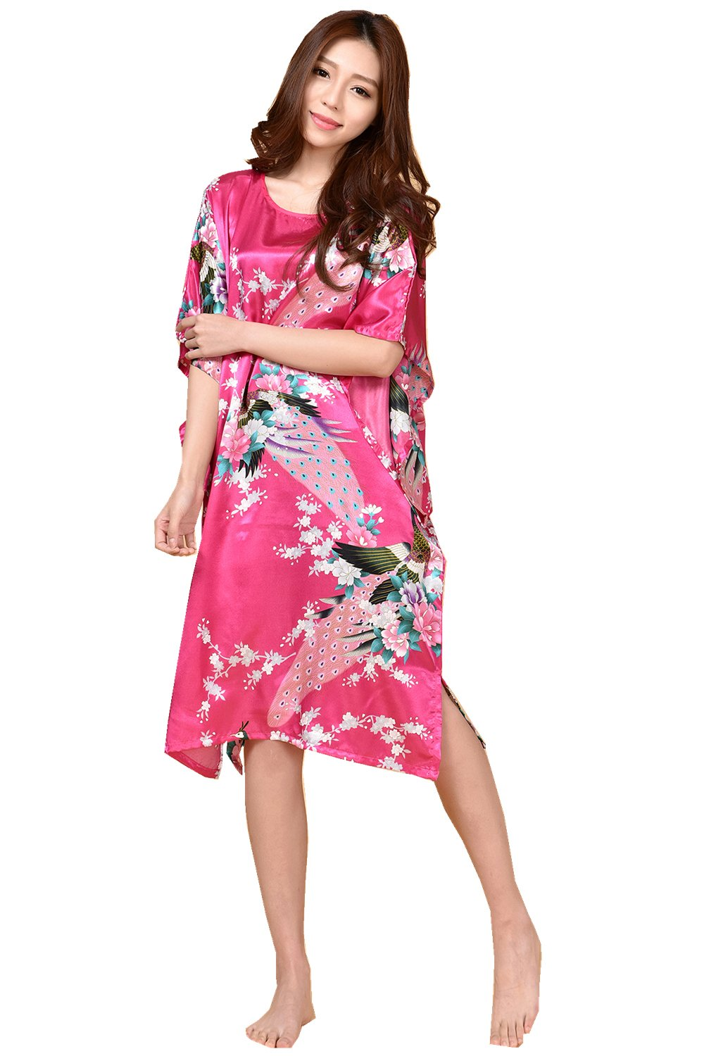 GL&G Animal pattern lady silk bathrobe thin section pajamas printing single skirt loose large yards home service comfortable rose red bathrobes,rose Red,One size