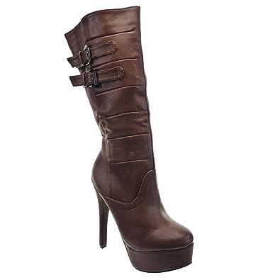 Marron CM Chaussure Mode 5 Botte femmes surpiqûres 14 Talon Kickly finition coutures aiguille Plateforme Genoux CxBeod