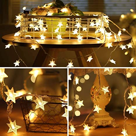 Amazon Com Star Led String Lights 70 Led 33 Ft Twinkle Star Battery Operated Fairy Lights Waterproof For Outdoor Indoor Bedroom Wedding Party Christmas Halloween Garden Decorations Home Improvement