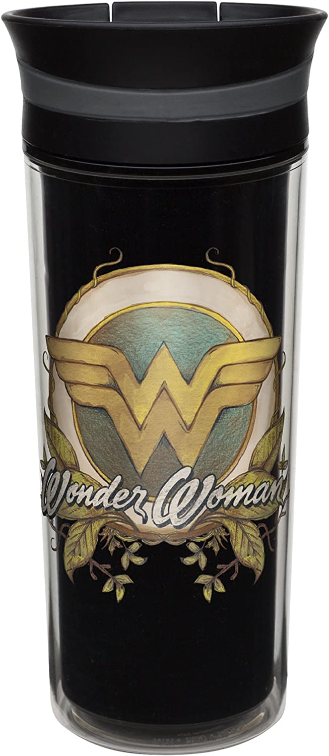 Zak! Designs Insulated Travel Tumbler featuring DC Comics Retro Wonder Woman Graphics, BPA-free and Break-resistant Plastic, Double Wall Construction and Leak-proof Slide Lid, 16 oz. Capacity