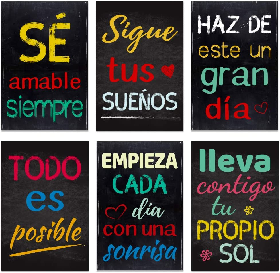 """FaCraft Spanish Motivational Posters,6pcs,12""""x 18"""" Inspirational Quote Wall Art poster,Growth Mindset Posters for School,Home,Office,Library."""