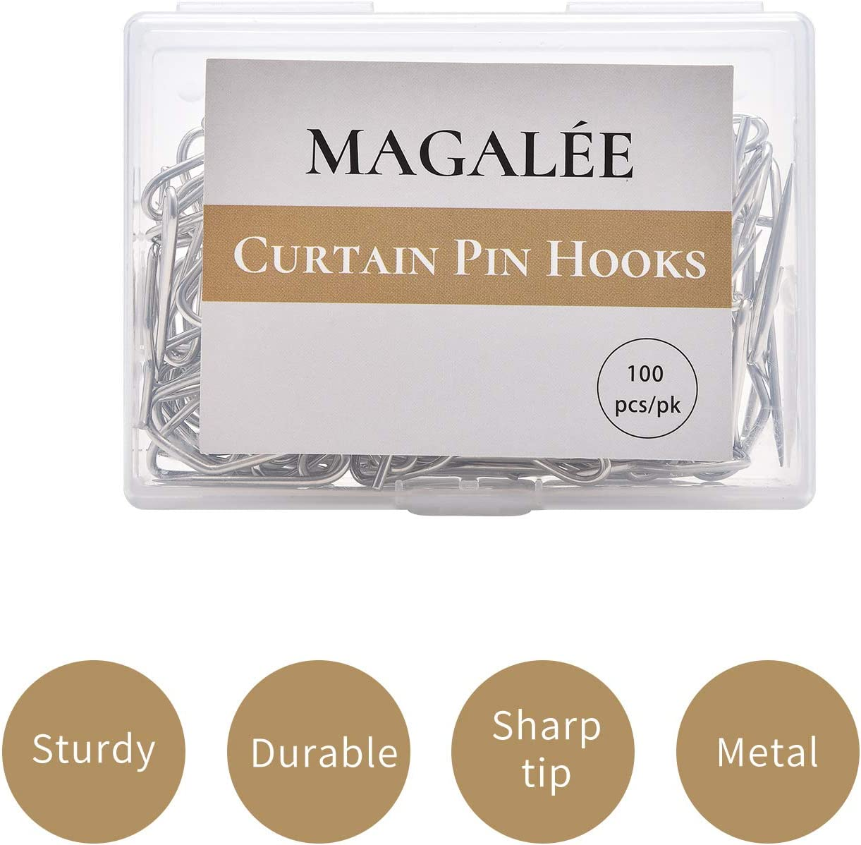 Magal/ée Metal Curtain Hooks for Drapes 100 Pack pin-on Drapery Hooks Drapery Clips Metal pins Curtain Hangers