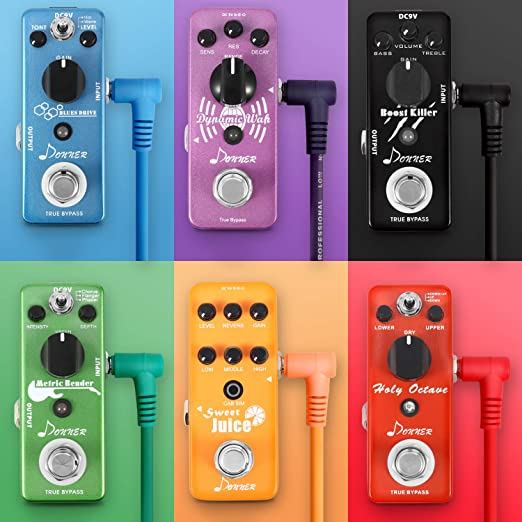 lot de 6, noir c/âbles de jonction pour p/édales 5cm Rayzm c/âble patch guitare c/âble de jonction pour instruments 6,35mm pour p/édales deffets pour guitare//basse