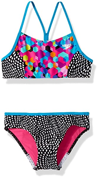 9b05dceef6 Amazon.com: Speedo Big Girls Diamond Geo Splice Two Piece Swimsuit: Clothing