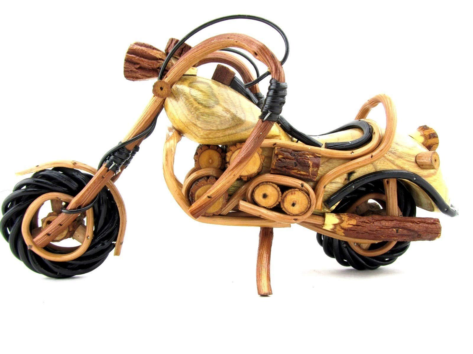 Blue Orchid Wooden Motorcycle Figurine, Chopper Motor Bike Model, Handmade Collectible Sculpture, 11.5 Inches by Blue Orchid