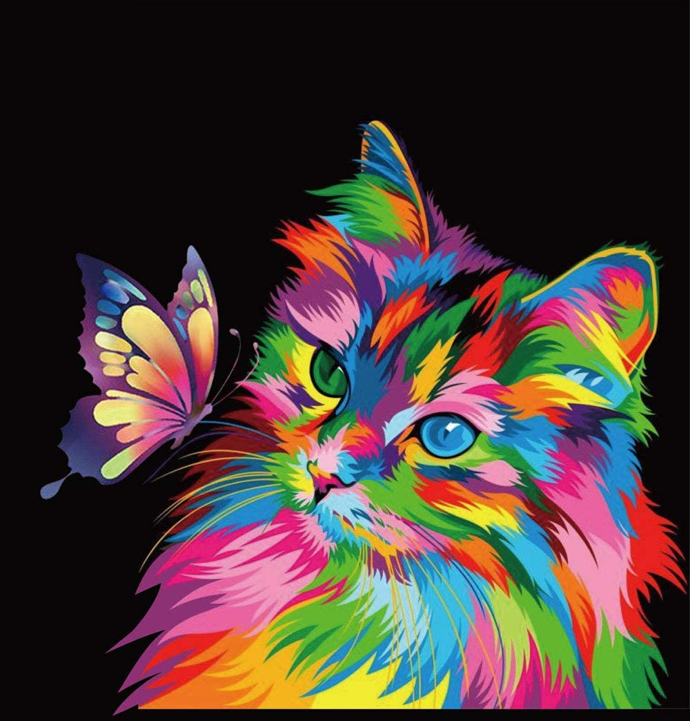 Elftoyer Paint By Numbers For Kids Adults Beginner Diy Canvas Painting Gift Kits For Home Decoration Colorful Cats And Butterflies 16 X 20 Inch Without Framed Toys Games