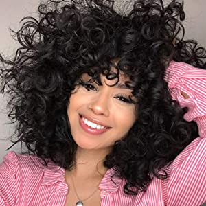 Lady Miranda Loose Wave Wig Black Color Nature Curly Synthetic Heat Resistant Weave Full Wigs for Women (Black)