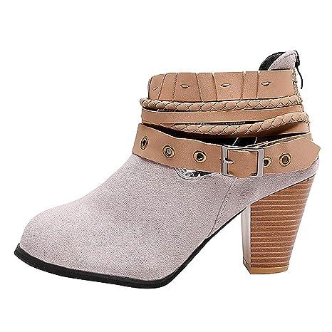 Botines de Mujer, Proumy Moda Botas Cortas de tacón Alto Hebilla ...