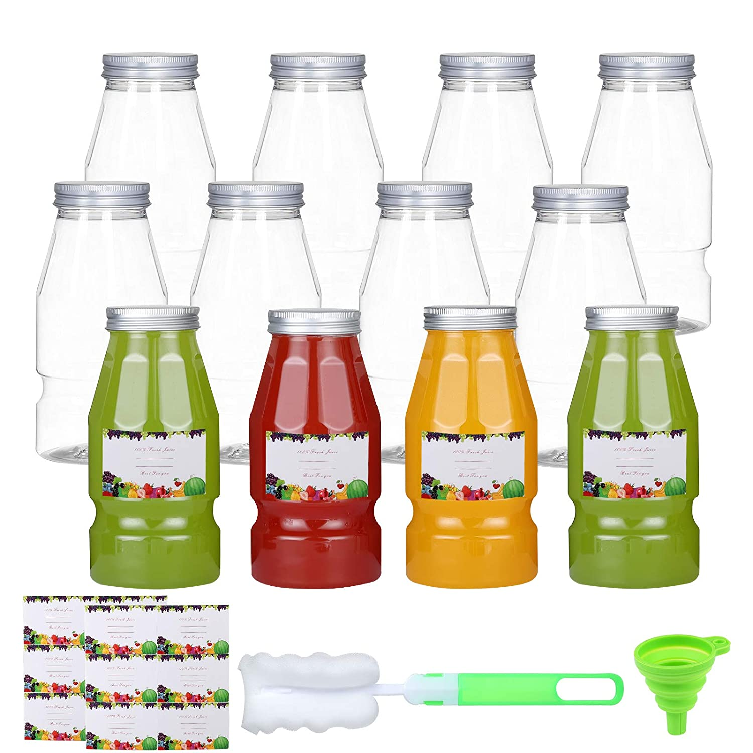 Mike pups Plastic Juice Bottles 16 Oz Disposable Clear PET Empty Bottles with Airtight Aluminum Caps Reusable Take out Containers with Lids for Milk Smoothie Drinks and Beverages, 12 Pack(Aluminum cap)