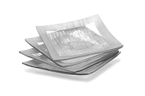 GAC Elegant Designed Square Tempered Glass Dessert Plates Set of 4 \u2013 Break and Chip Resistant  sc 1 st  Amazon.com & Amazon.com | GAC Elegant Designed Square Tempered Glass Dessert ...