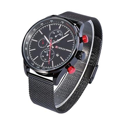 Dilwe Reloj de Cuarzo 2 Tipos de Reloj de Cuarzo Analógico con Correa de Acero Reloj