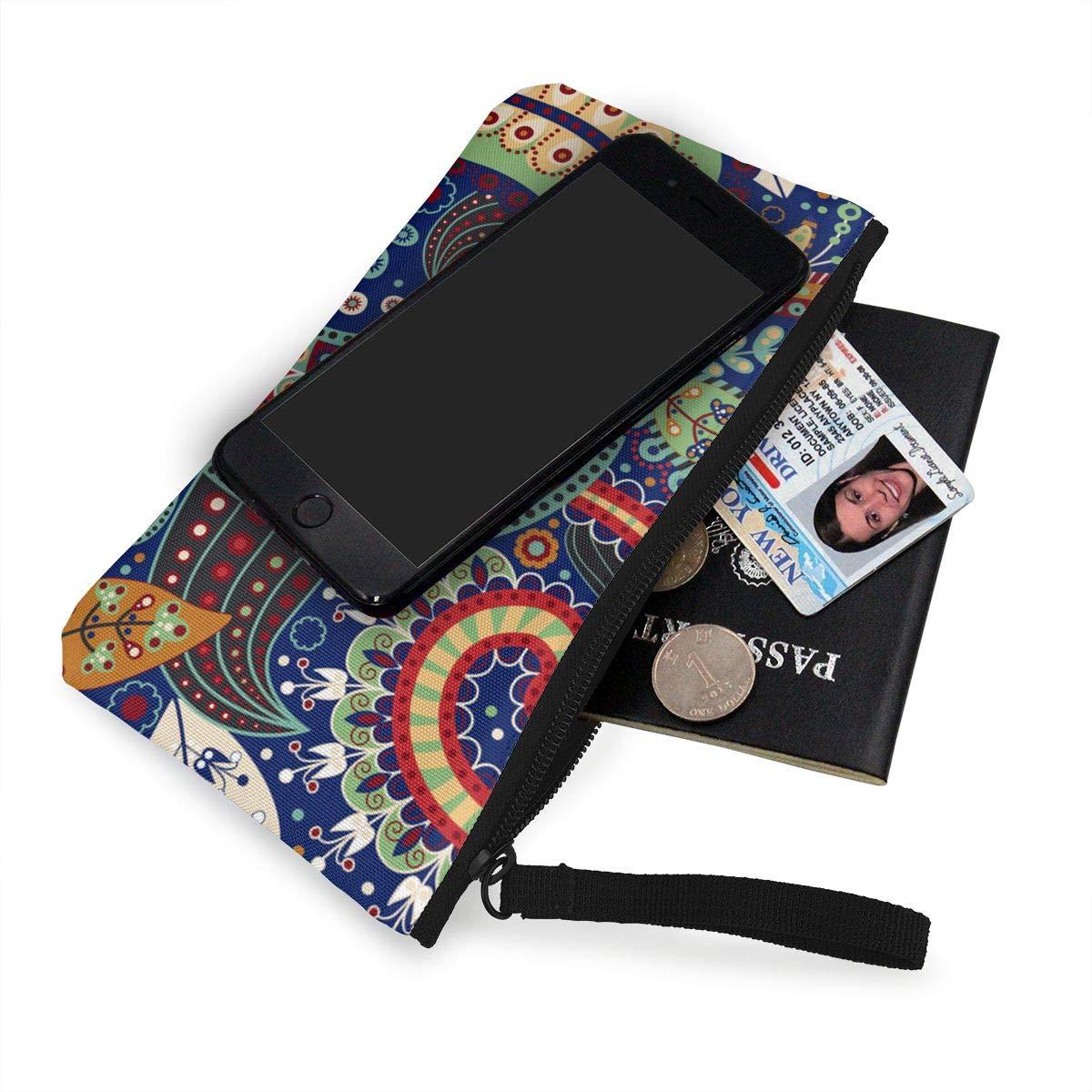 Canvas Cash Coin Purse,African Roma Printed Boho Print Make Up Bag Zipper Small Purse Wallets