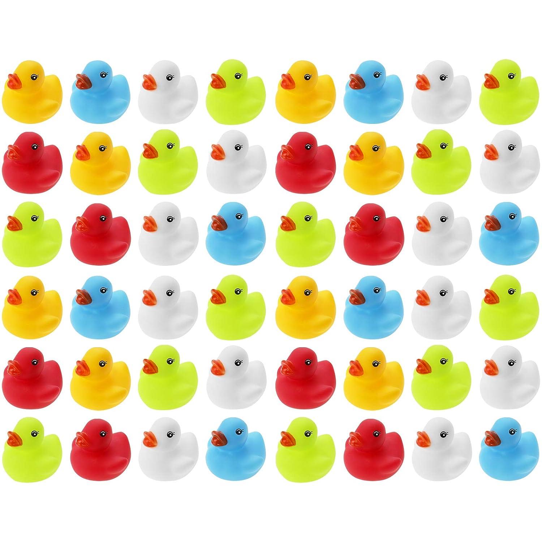 Wellgro 50 Patos de ba/ño en Red. Patito de Goma Amarillo, Rojo, Blanco, Azul, Verde di/ámetro x Altura 3,5 x 3 cm Cada Pato de Quitsche-Ente Aprox