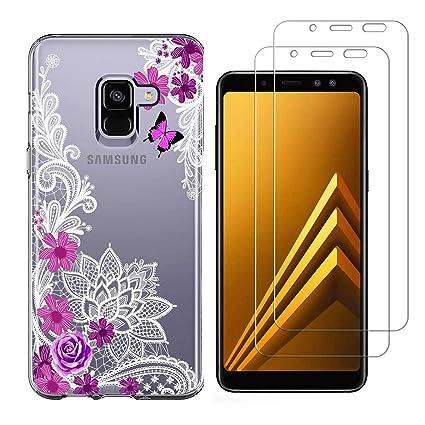 Funda Samsung Galaxy J6 Plus Flor de Mariposa Suave TPU Silicona Anti-rasguños Protector Trasero Carcasa para Samsung Galaxy J6 Plus 2018 (6.0 ...