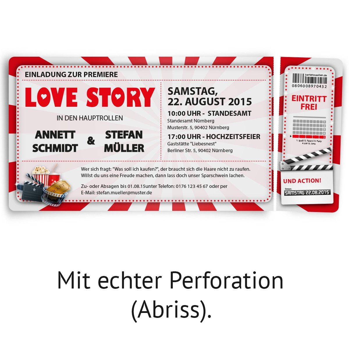 Einladungskarten zur Hochzeit (30 Stück) als Kino Ticket Film ...